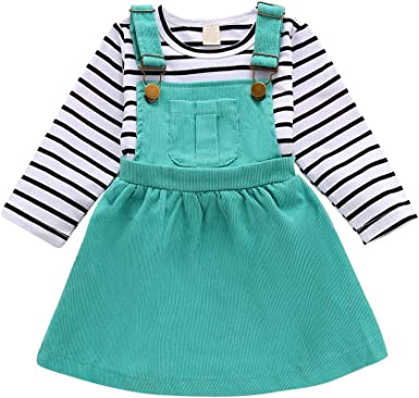 3PCS Toddler Newborn Baby Girl Striped Tops Romper Strap Skirt Outfits Clothes