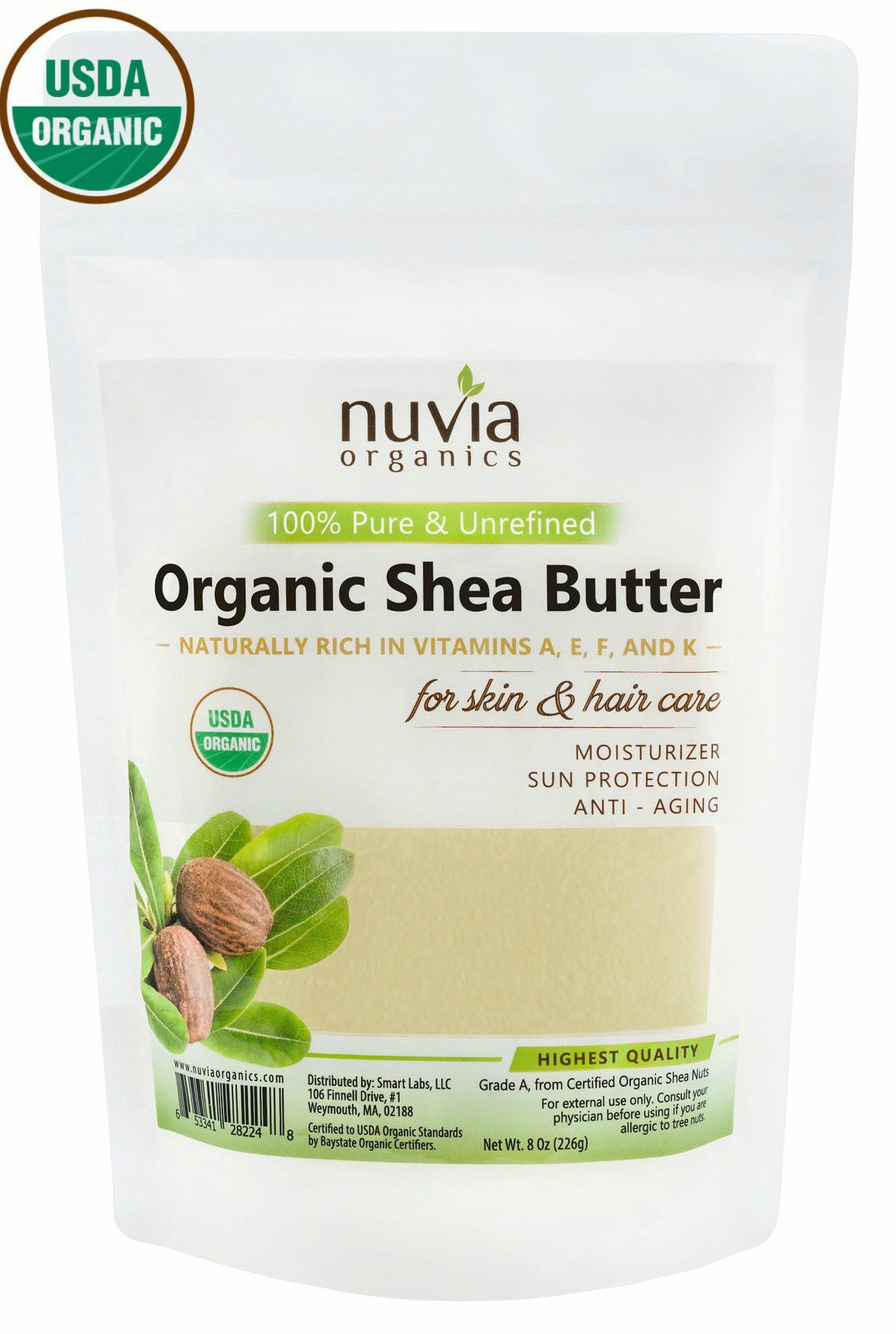 Nuvia Organics Shea Butter - USDA CERTIFIED ORGANIC - 100% Pure & Unrefined; 8 oz