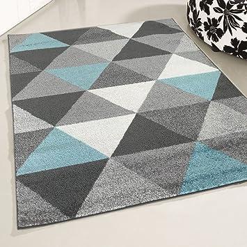 Mynes Home Teppich Kurzflor Türkis Jugendzimmer Skandi Skandinavisches  Design Modern Kurzflorteppich Moderner Designerteppich (80 X