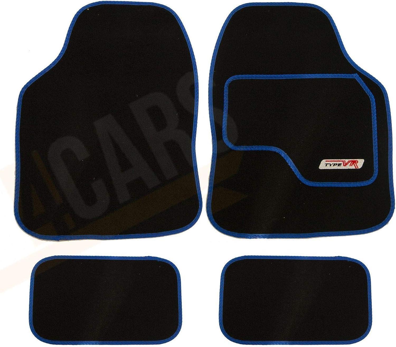 Front /& Rear Green Trim Universal UKB4C VR Embroidered Edging Car Carpet Mat Set