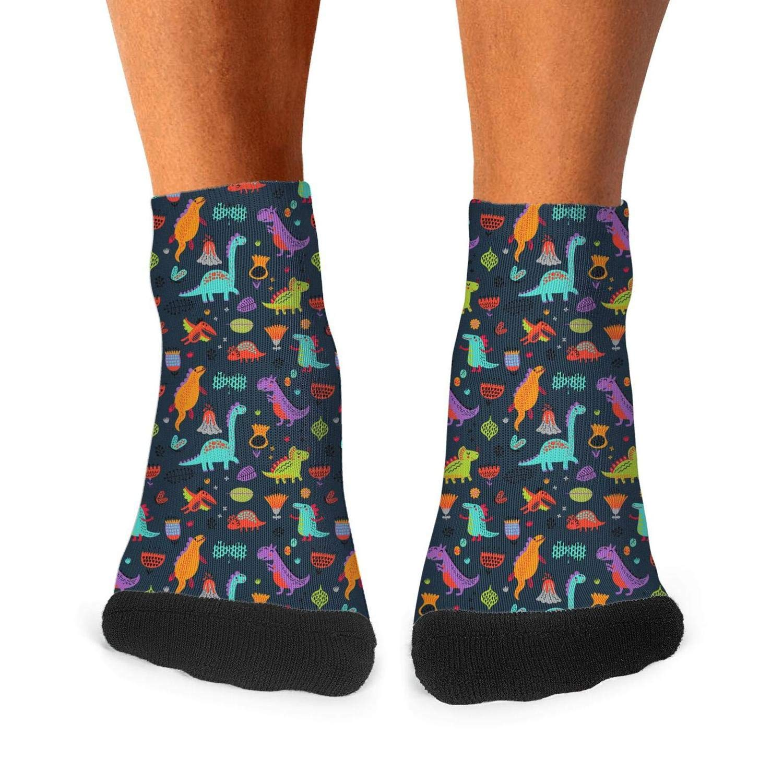 Floowyerion Mens Colorful dinosaurs black background Novelty Sports Socks Crazy Funny Crew Tube Socks
