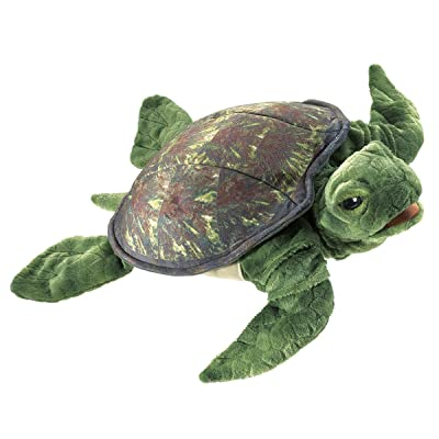 Folkmanis Sea Turtle Hand Puppet, Green: Toys & Games
