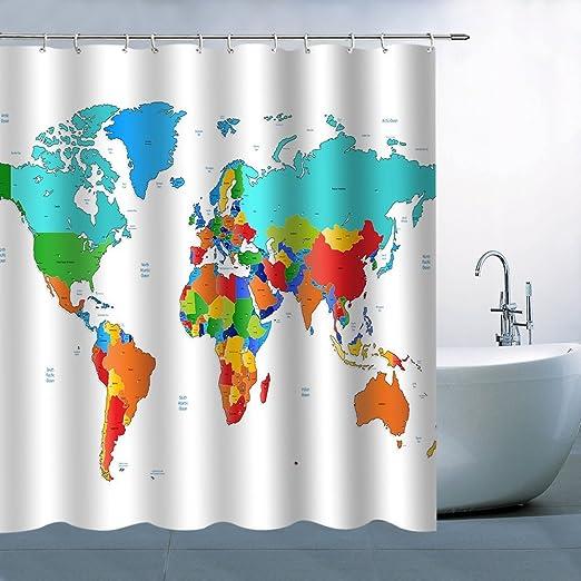 "71/"" Fabric Polyester Bathroom Shower Curtain Drapes 12 Hooks Set World Map"