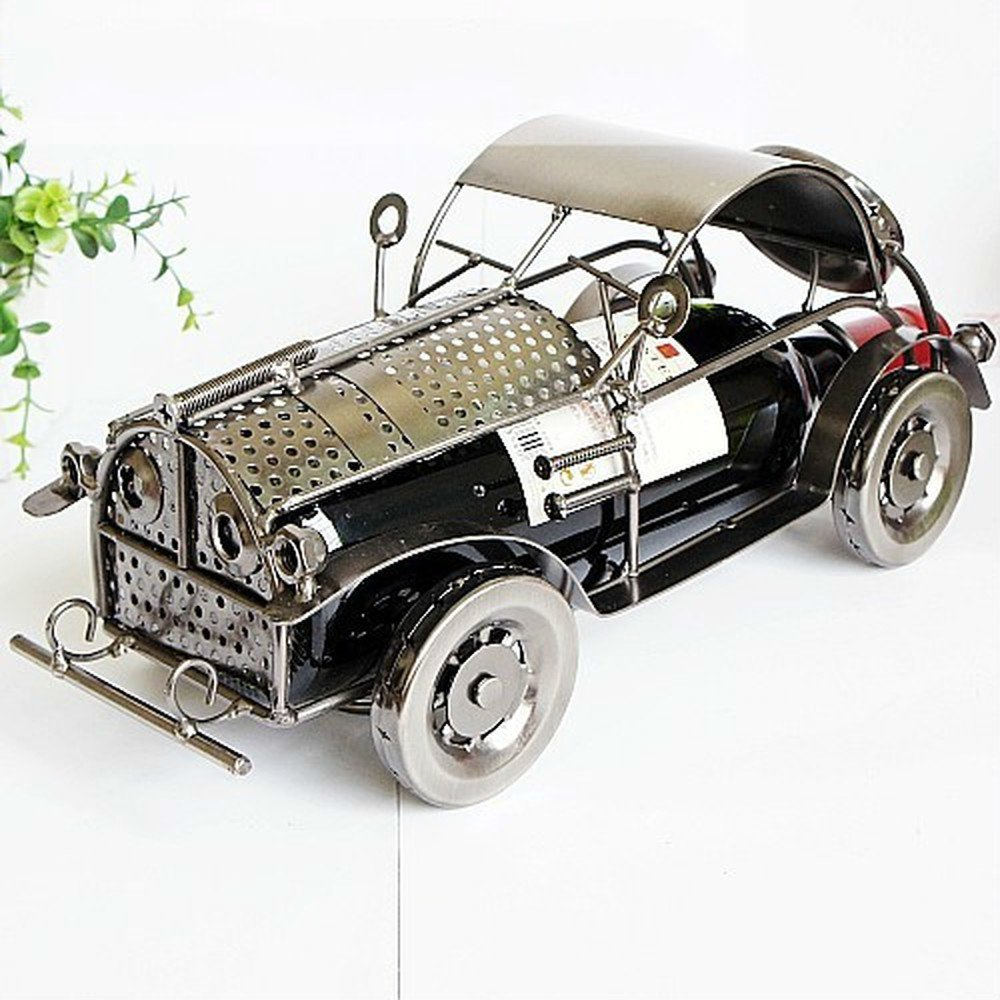 BWLZSP 1 PCS Iron classic car wine rack decorations hotel restaurant bar model room decoration gift (Without Wine) AP5281416