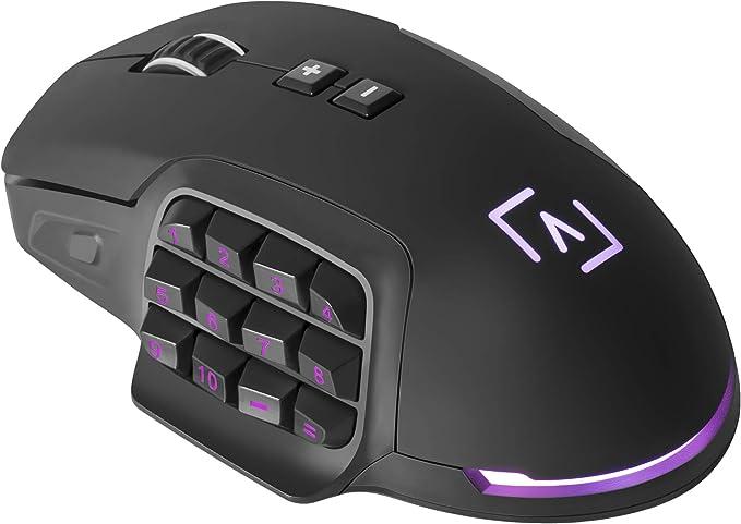 AIM - Ratón Gaming Profesional, (10000 dpi,Sensor óptico Avago Pro,17 Botones mecánicos programables OMROM, DNA RGB configurable, Botones Laterales ...