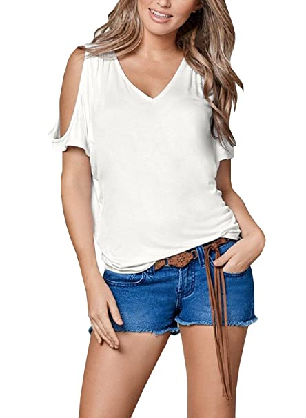 1c66086184b Amazon.com: Dellytop Women's V Neck T Shirts Summer Short Sleeve Cold  Shoulder Loose Fit Tops Tee,White,Small: Clothing