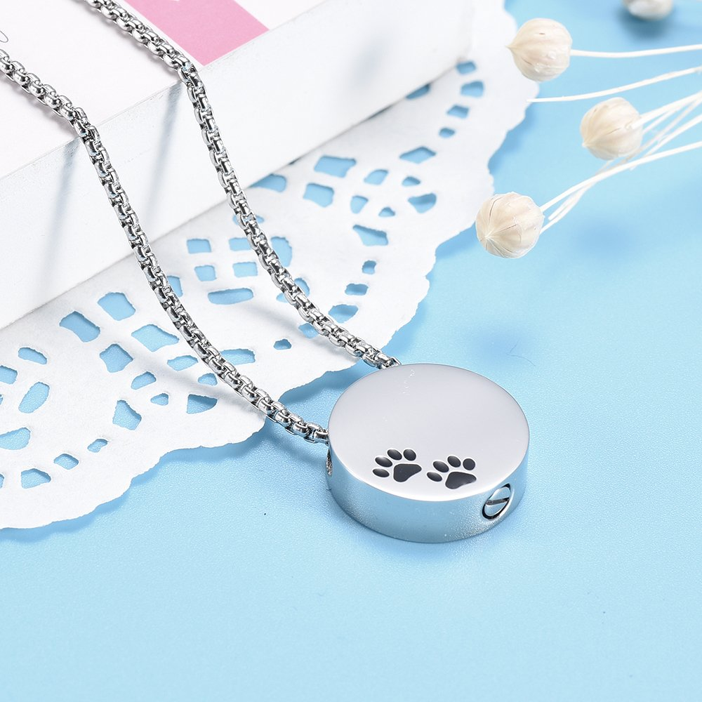 Double Black Dog & Cat Paw print Cremation Locket Jewelry Ashes Holder Urn Necklace For Pet by EternityMemory (Image #2)