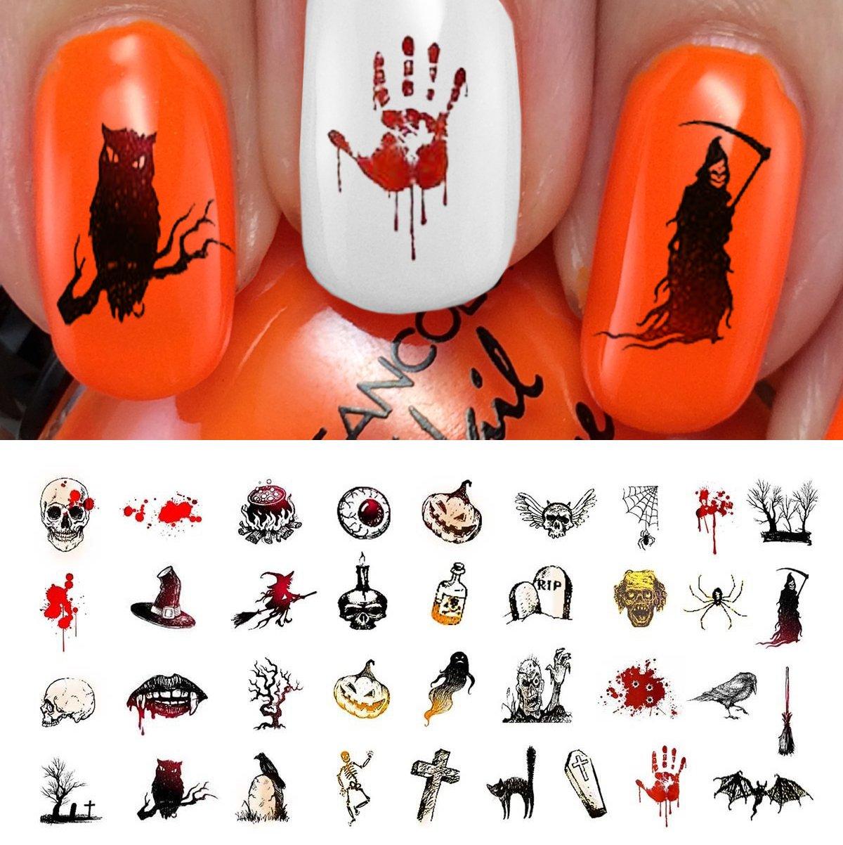 Amazon.com: Halloween Nail Decals Assortment #4 - WaterSlide Nail Art Decals  - Salon Quality!: Beauty