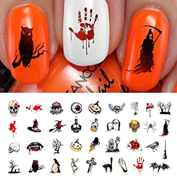 Amazon.com: Halloween Nail Decals Assortment #4 - WaterSlide Nail ...