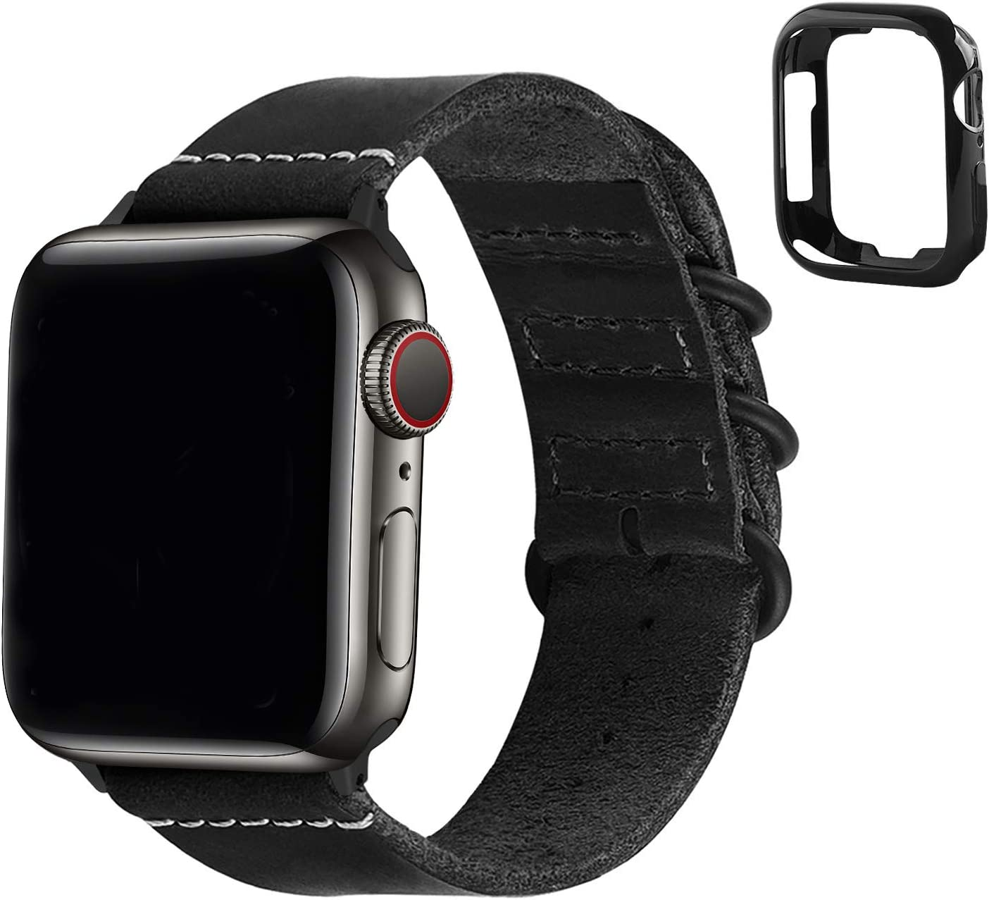 Fullmosa Compatible Apple Watch Band 44mm 42mm 38mm 40mm,Leather NATO Strap for iWatch SE & Series 6/5/4/3/2/1,Black,44mm 42mm