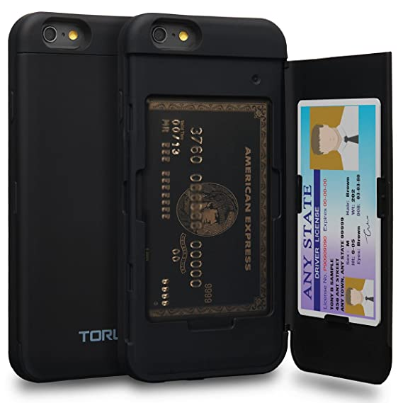 half off 21636 e4acc TORU CX PRO iPhone 6 Wallet Case with Hidden ID Slot Credit Card Holder  Hard Cover & Mirror for iPhone 6S / iPhone 6 - Matte Black