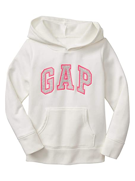 Amazon.com: GAP Girls Fleece Arch Logo Pullover Hoodie (Large, White (Pink Grey Logo)): Clothing