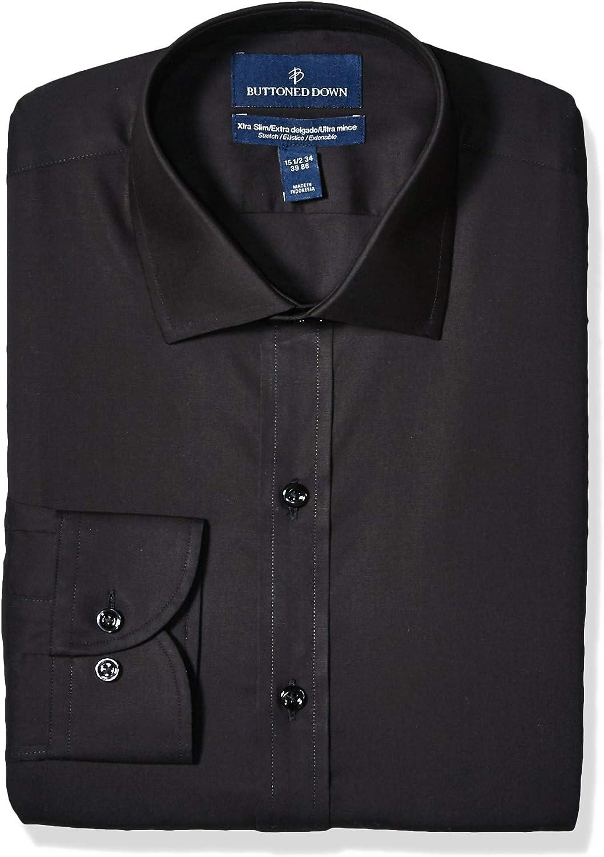 Marca Amazon - Buttoned Down Xtra-Slim Fit Spread-Collar Stretch Poplin Non-Iron Dress Shirt Hombre