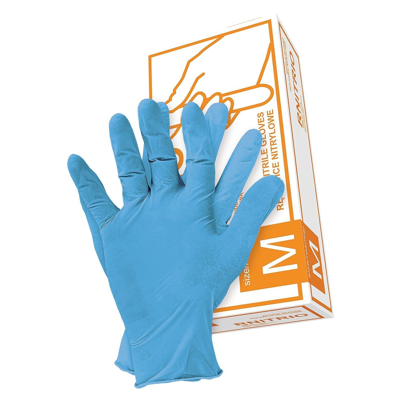 EINWEG SCHUTZHANDSCHUHE RNITRIO 100PK S-XL Nitryl Gummi Handschuhe Puderfrei Box
