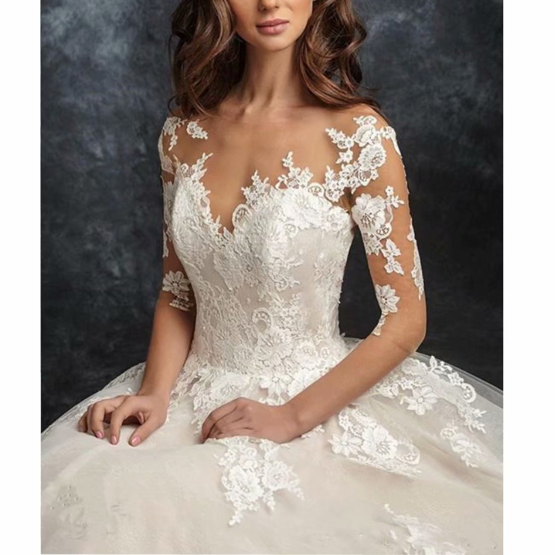 388db0cf9f7b DingDingMail Women's Scoop Neck Lace Ball Gown Wedding Dress for Bride 2019  Applique 3/4 Sleeves Open Back Bridal Gowns at Amazon Women's Clothing  store: