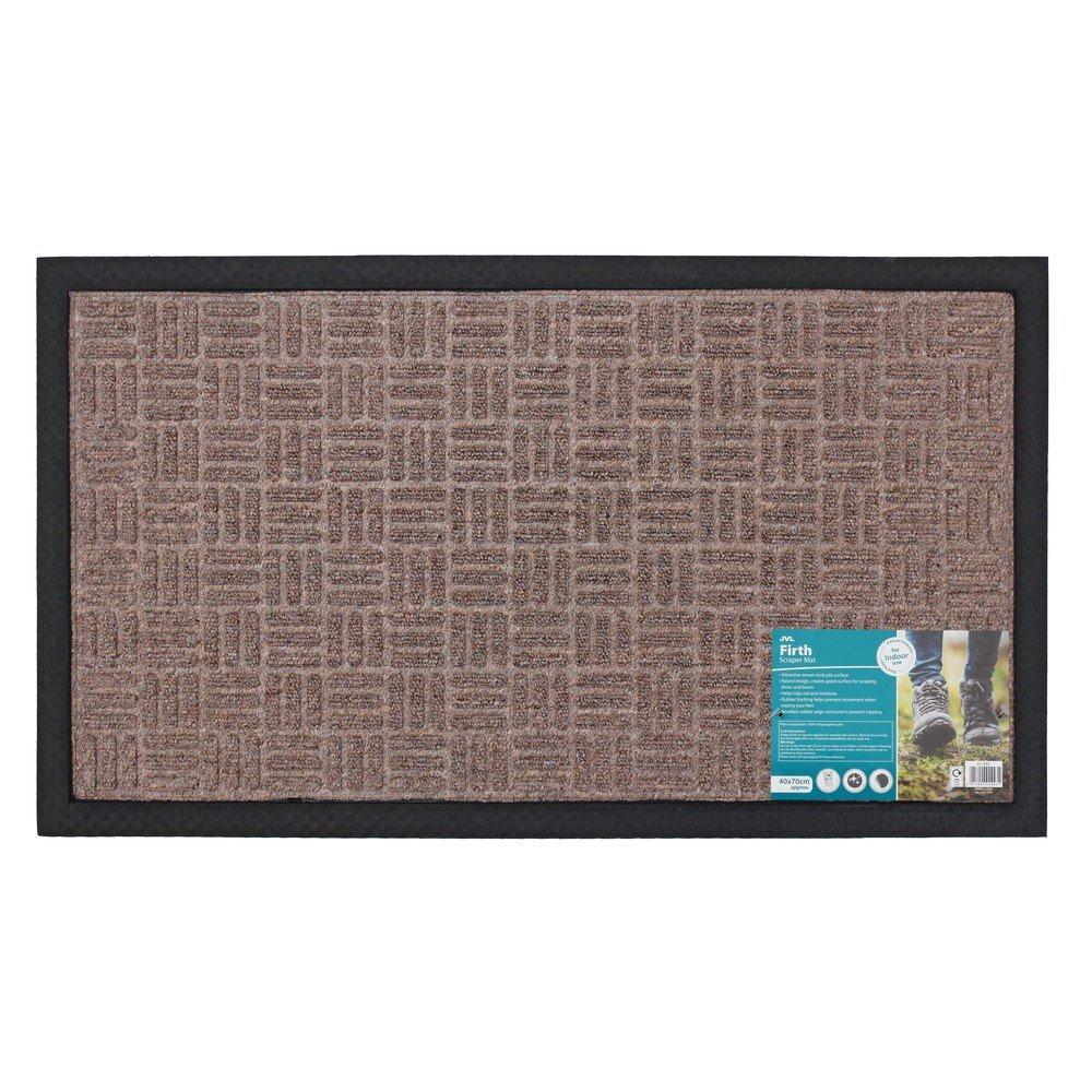 JVL Firth Carpet Rubber Backed Entrance Door Mat, Plastic, Beige, 40 x 70 cm 01-443BE