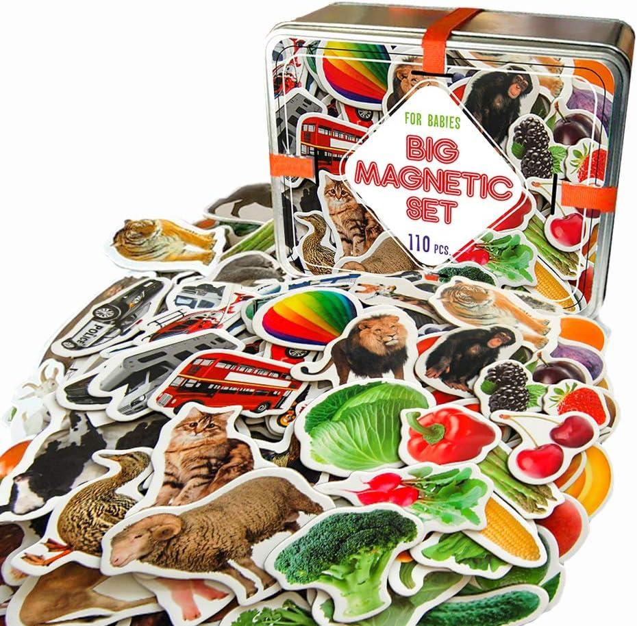 MAGDUM 110 Fotos Set Animales& Frutas& Verduras& Transporte Caja de Lata de Regalo- 110 Imanes Realistas Juguetes de Bebé 3 años- Juegos Educativo Aprender Magnético para niños- Imanes Nev