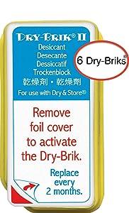 Dry & Store Dry-Brik II Desiccant Blocks - 6 Blocks (2 Packs of 3 Blocks)| Replacement Moisture Absorbing Block for The Global II and Zephyr