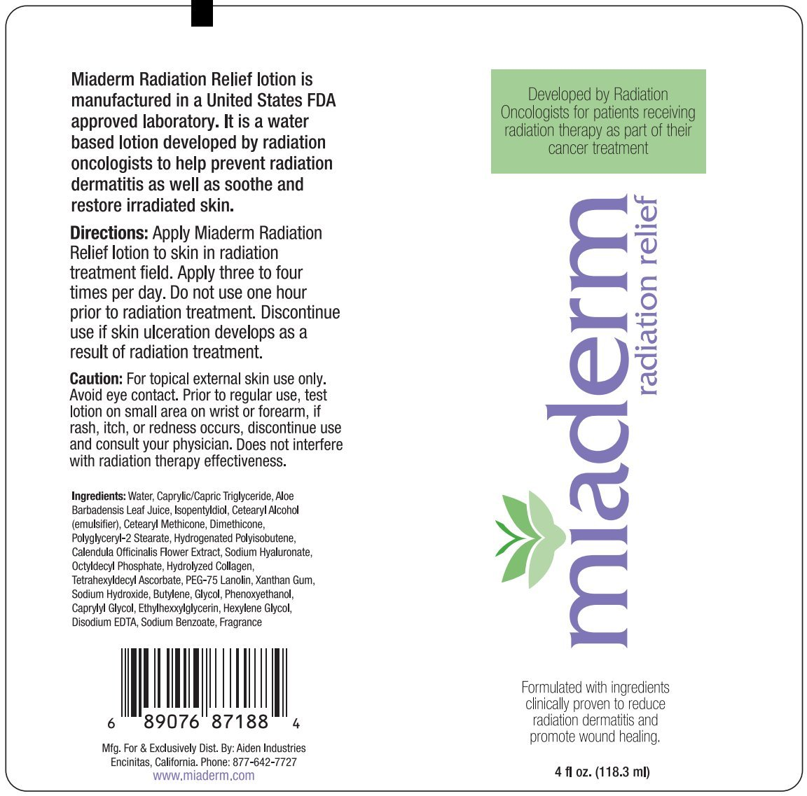 Miaderm Radiation Relief 4 Oz