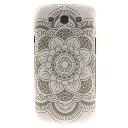 Guran® Silicona Funda Carcasa para Samsung Galaxy S3 i9300 / S3 Neo Smartphone Case Bumper Shock TPU Cover-flor blanca