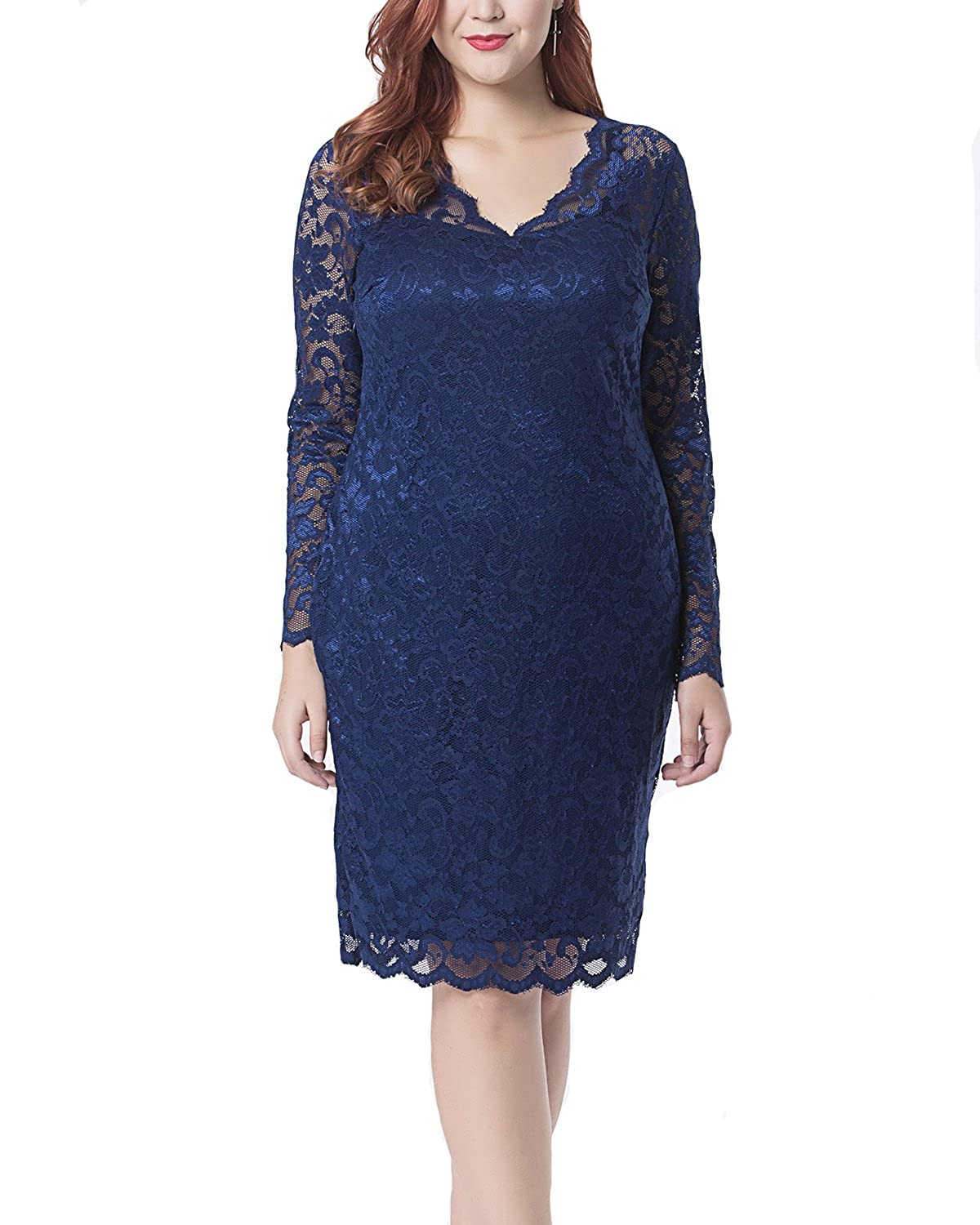 f68eb1089e Women's Lace Plus Size V Neck Sexy Bodycon Party Evening Dress Long Sleeve  Dark Blue 20W at Amazon Women's Clothing store: