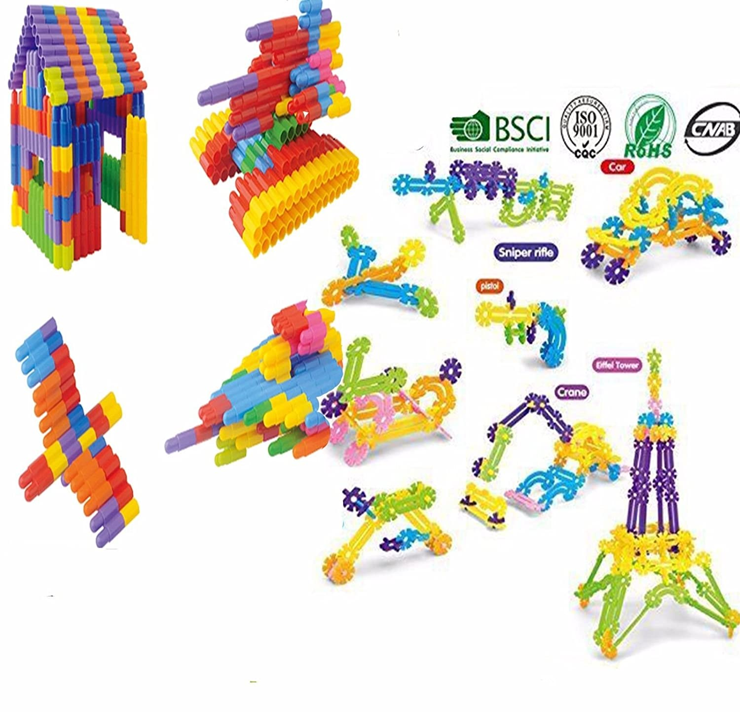Shantou Upgraded 252 pc Snowflake building toys Different size Mix colors not like others best gift Construction blocks interlocking preschool STEM 126 pc mixed