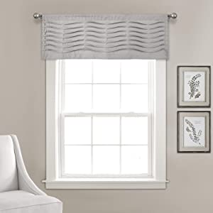 "Lush Decor, Light Gray Wave Texture Valance   Pleated Ruffle Fold Window Kitchen Curtain (Single), 18"" x 52"