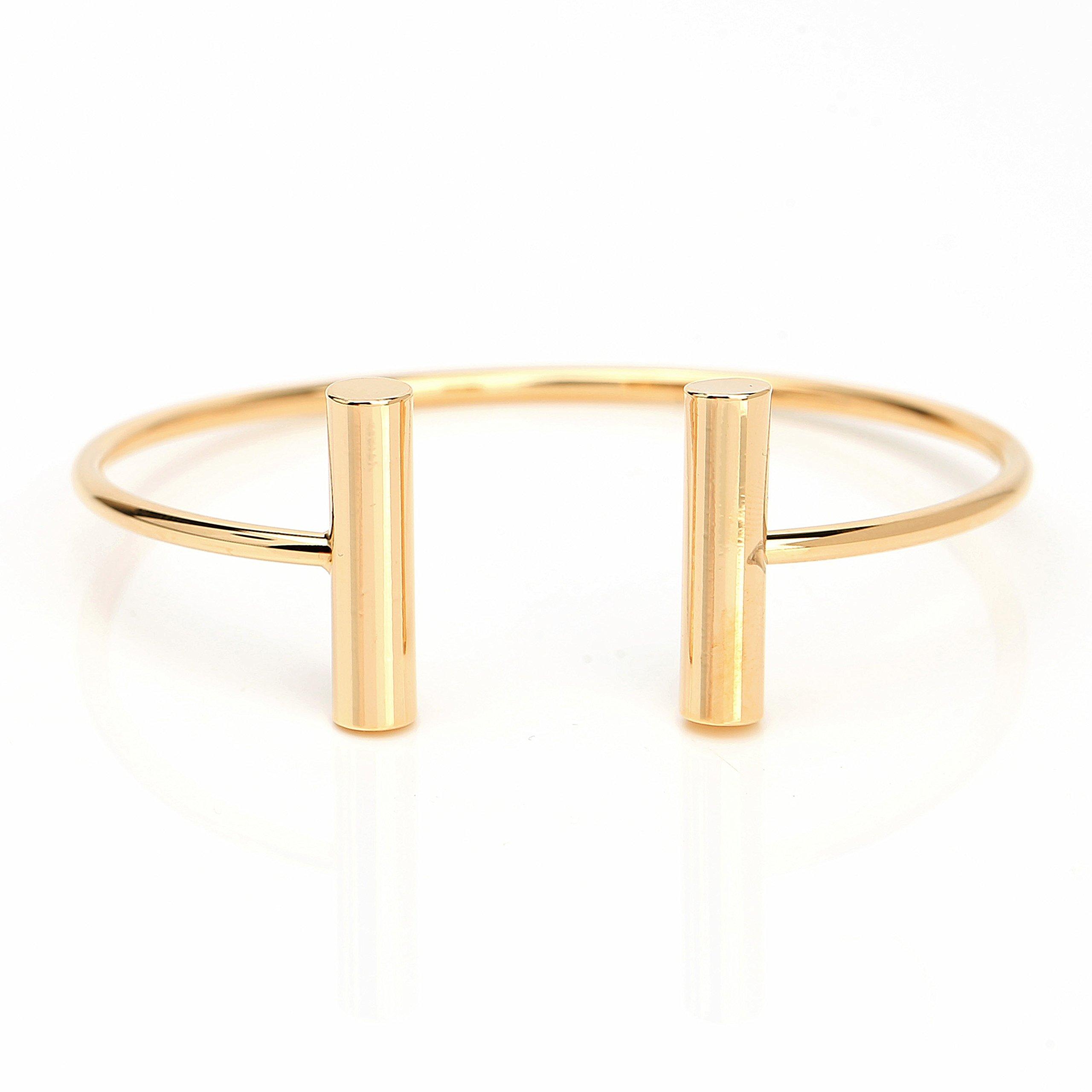 United Elegance Stylish Designer Bangle Bracelet with Contemporary T-Bar Design