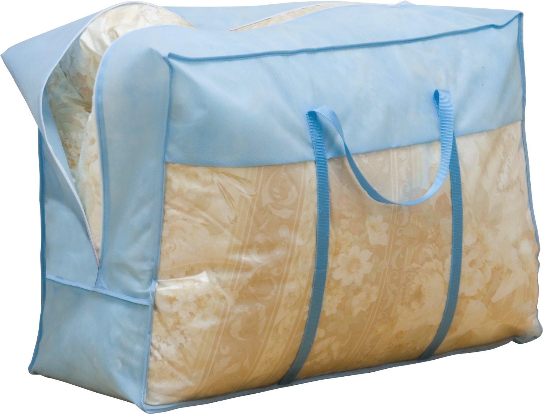 1Storage Duvet Blanket Organizer Bag, Breathable Material, Transparent Window, Carry Handles, Blue 102-12A