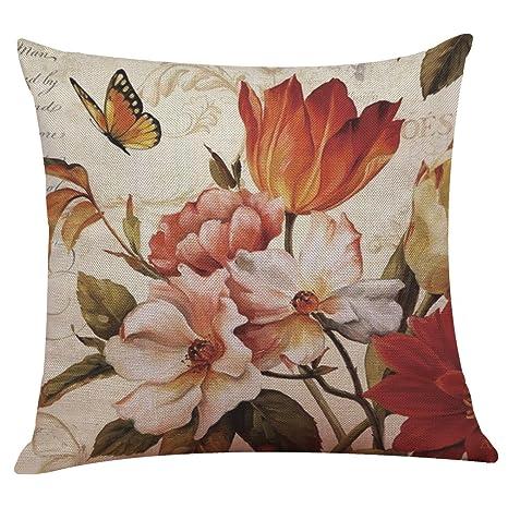 mstar atractivo Flores Pájaros Impreso costura almohada de ...