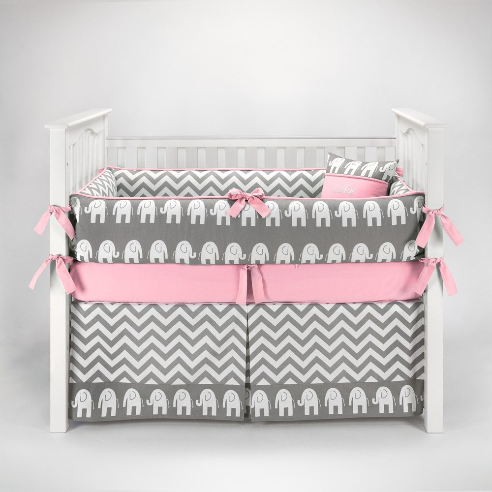 amazoncom  elephant chevron zig zag gray  pink baby bedding  - amazoncom  elephant chevron zig zag gray  pink baby bedding  pc cribset by sofia bedding  baby