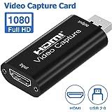 LENCENT Tarjetas de captura de audio y video, HDMI a USB 2.0, dispositivo de captura HDMI 1080p60, grabación a través de vide