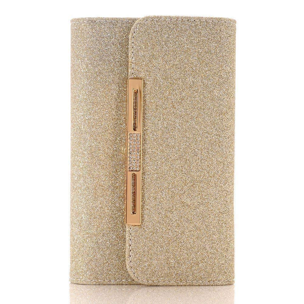 Apple iPhone X Case Wallet Cover,MeLiio Girls Cute Style Glitter Powder PU Leather Stand Flip Book Cover with Cards Slots Lady Multi Envelope Wallet Carrying Case Handbag for iPhone X 5.8 inch (Gold)