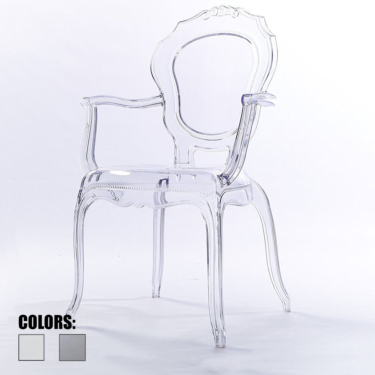 2xhome Clear Modern Ghost Chair Armchair Vanity Dining Room Lounge Crystal Molded Mirrored Furniture Desk Vanity Dining Chair