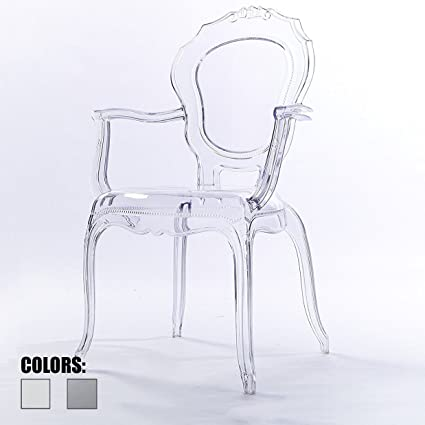 2xhome Clear Modern Ghost Chair Armchair Vanity Dining Room Lounge Crystal  Molded Mirrored Furniture Desk Vanity