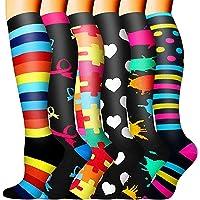 Sooverki Calcetines de Compresión para Hombres y Mujeres 6 Pares 20-25 mmHg es el Mejor para Running, Correr, Senderismo…