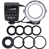EACHSHOT® FC100 Macro Ring Light Flash Comes with 8 Adapter Rings for Canon Nikon Sony Fujifilm Olympus Panasonic Pentax and Other Standard Hot Shoe Digital Cameras