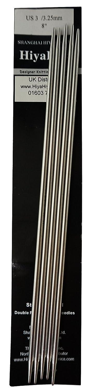 HiyaHiya 8// 20 cm x 3,25 mm Acier Inoxydable /à Double Pointe Set de 5