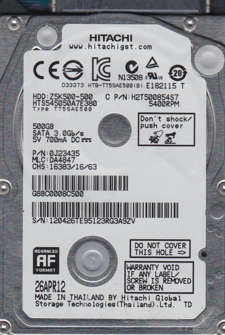 PN 0J23435 MLC DA4847 Hitachi 500GB SATA 2.5 Hard Drive HTS545050A7E380