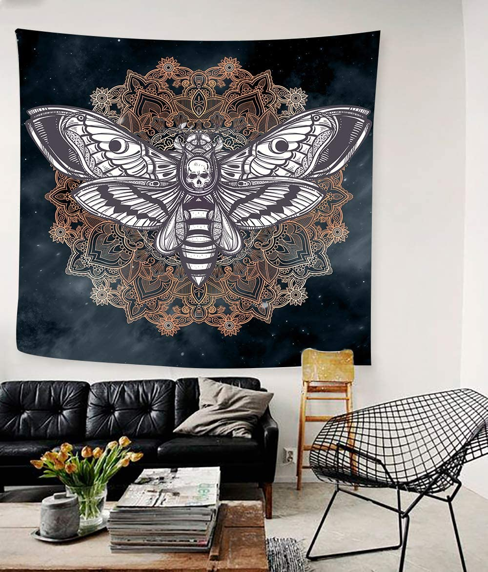 Dead Head Hawk Moth Wall Tapestry with Mandala Vintage White Skull Illustration Tapestry Blanket Mysterious Sky Wall Art Home Decor BedHead 60x60inches 152.4×152.4CM SILS448