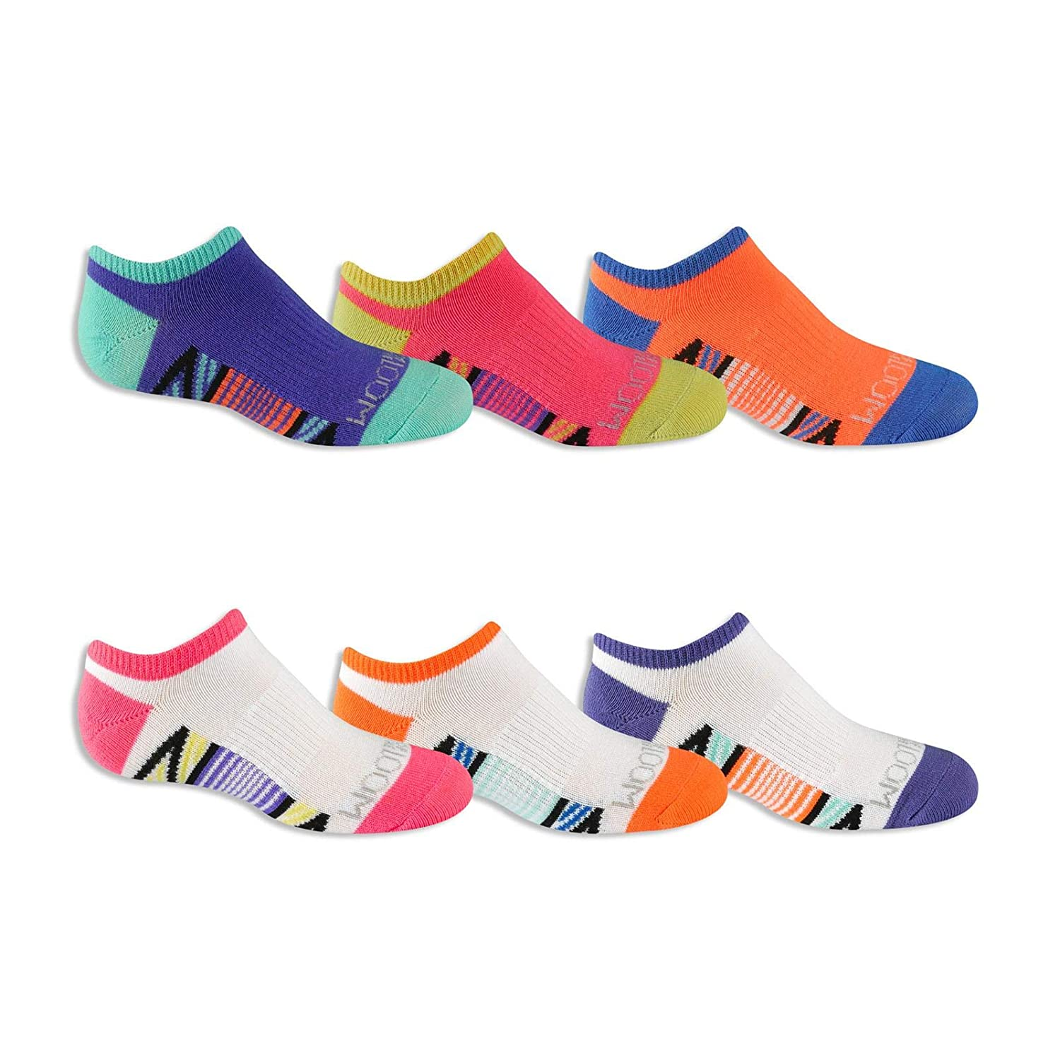 Fruit of the Loom Girls Big Everyday Active No Show Socks with Arch Support 6 Pair