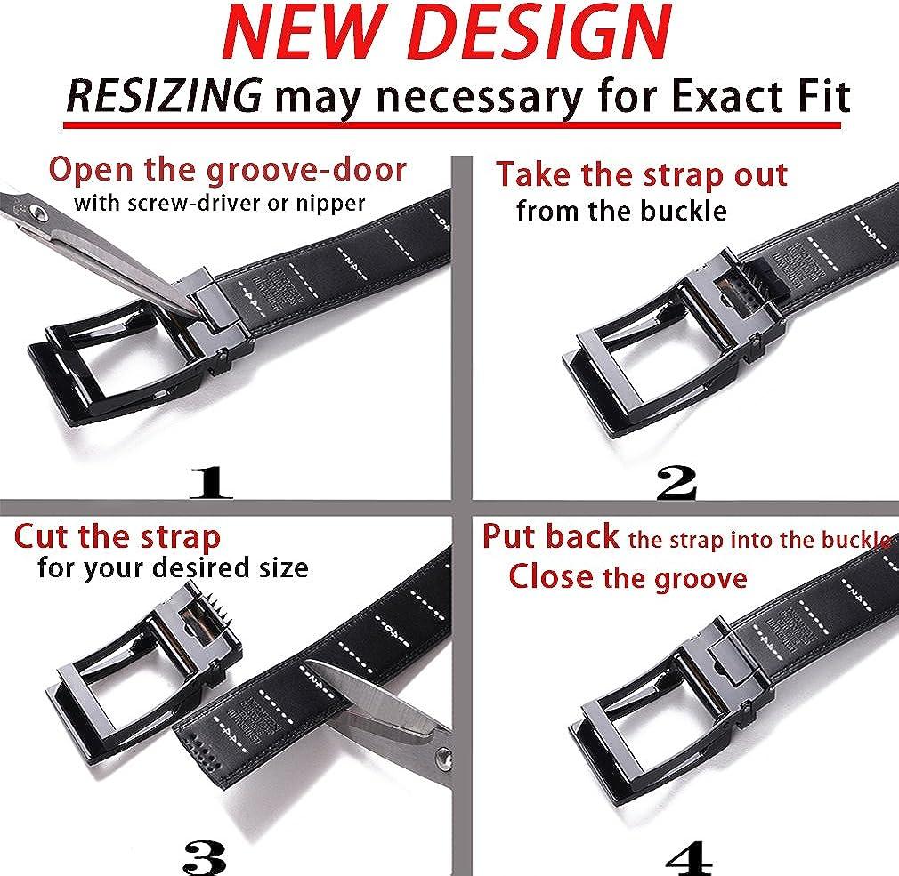 BULLIANT Cintura Uomo Cinture in Pelle a Cricchetto con Fibbia Automatica,Confezione Regalo