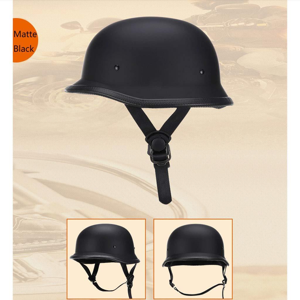 Color : Matte Black, Size : M Motorcycle helmet German retro Harley electric car half helmet locomotive Prince helmet half-covered helmet four seasons pedal portable mask