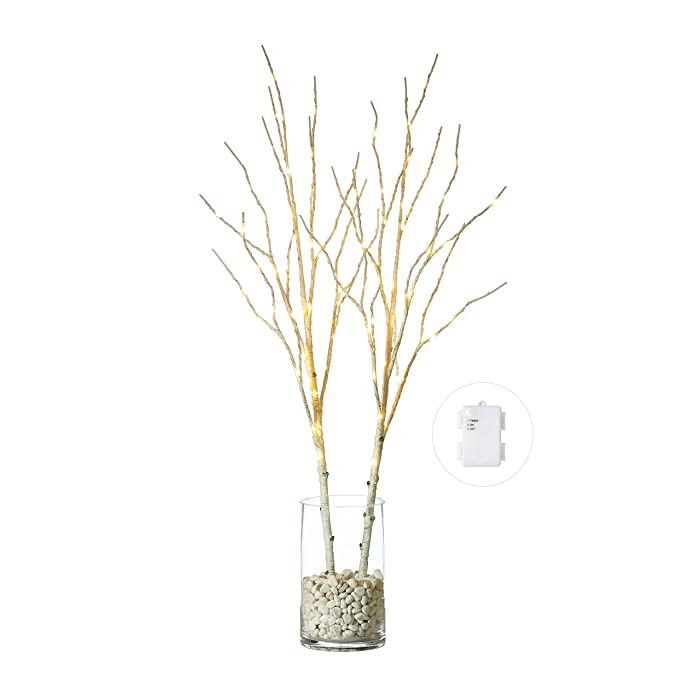 Hairui Lighted Birch Willow Branches White with Fairy Lights Decor 32in 100LED, Pre lit Artificial Twig Tree Branch Lights with Timer for Indoor Home Decoration Battery Operated 2 Pack (Vase Excluded)