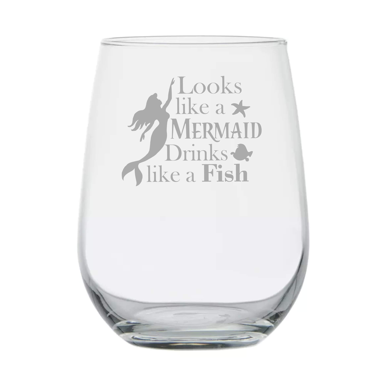Mermaid Gift ★ Looks Like a Mermaid Drinks Like a Fish ★ Mermaid Wine Glass ★ Funny Gift ★ Birthday Present ★ Anniversary Gifts ★ Couples Gifts ★ Handmade ★ Disney Engagement ★