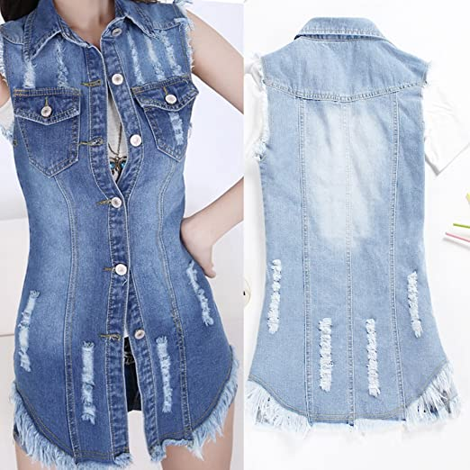 9d9232fcaf1 iBaste Waistcoat Women Girl Denim Jacket Gilet Distressed Ripped Button  Sleeveless Tops Plus Size  Amazon.co.uk  Clothing