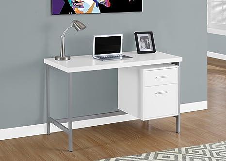 Monarch metallo scrivania per computer legno white silver