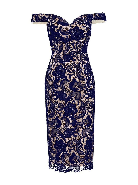 Ikerenwedding Women's Off-Shouler Knee Length Lace Evening Cocktail Party Dress