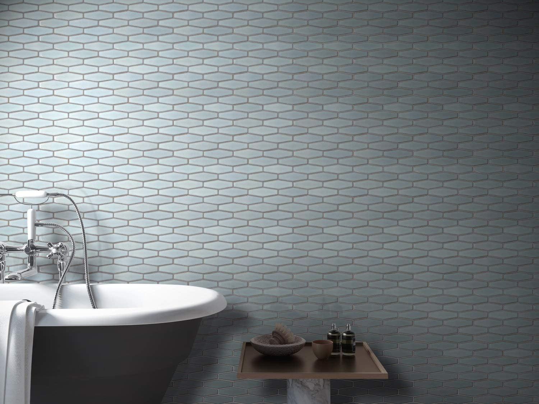 Kitchen Backsplash Bathroom Atlanta Elongated 3d Hexagon Mosaic Tiles White Floor Wall Tiles