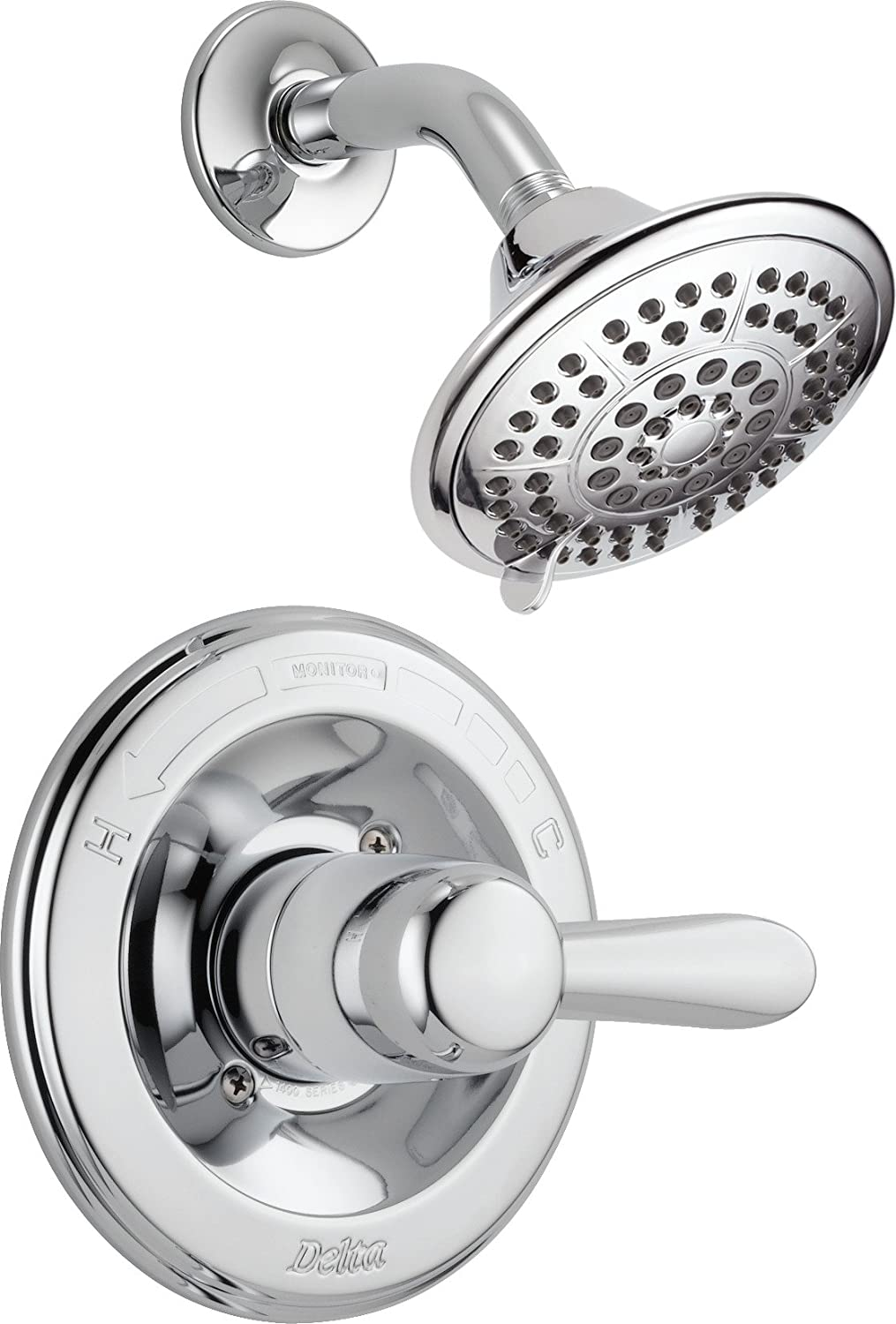 Delta Faucet Lahara 14 Series Single-Function Shower Trim Kit with 5-Spray Touch-Clean Shower Head, Chrome T14238 (Valve Not Included)